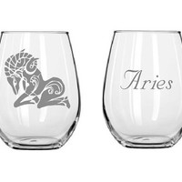 Etched glasses,zodiac signs,Etched wine glasses,birthday gifts,stemless wine glass,personalized gift,customized glass,Aries sign,Aries glass