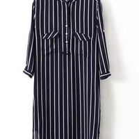 Ink Blue Striped Chiffon Dress with Buttons