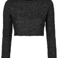 Textured Crop Sweat - Black