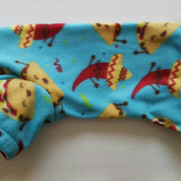 Taco Tuesday dog pajama.  Size small.  Machine washable.  Open underneath for potty breaks.