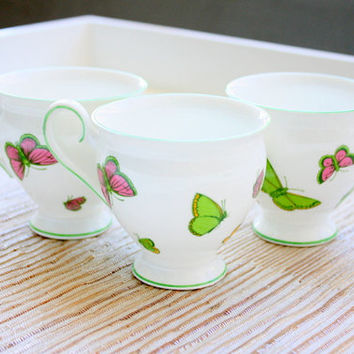 Fine Bone China Crown Staffordshire England Footed Sups With Butterflies Design / Tea Party / Tea Set / Coffee Cups / English China