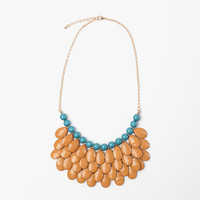 Caramel & Teal Waterfall Necklace