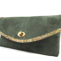 Clutch Purse, Handbag, Clutch Bag, Purse, Suede, Green, Brown