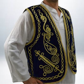 BLUE VELVET VEST Authentic Ottoman Turkish Embroidered Vest,Waist,Waistcoat, Hand made Medieval
