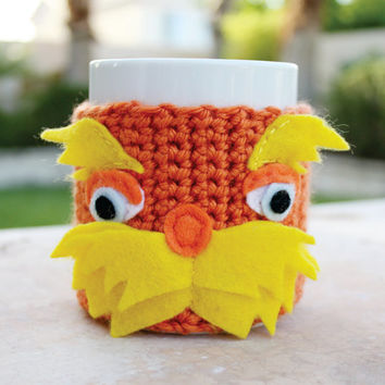 Lorax  Inspired Coffee Mug Tea Cup Cozy: Dr. Seuss -ish Cartoon Animation Crochet Knit Sleeve