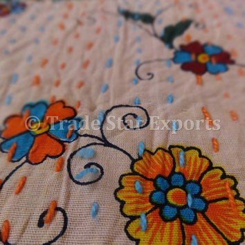 Handmade Patchwork Kantha Bedspread, Printed Kantha Quilt, Queen Size, Made By Artisians of India, Printed Patches with Hand Kantha Work