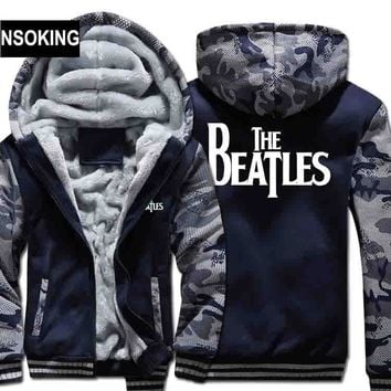 H0026 New Winter Warm the beatles Hoodies Rock Band Hooded Coat Thick Zipper men cardigan Jacket Sweatshirt