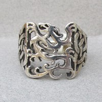 Men's Sterling Silver Vintage Open Work Celtic Knot & DRAGON Wide Band Ring, Size 13