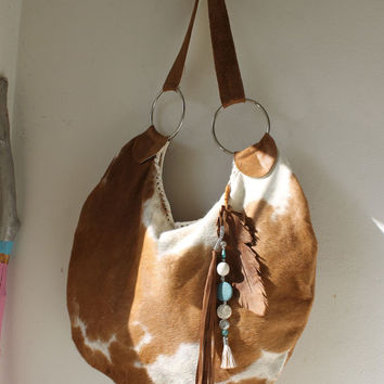 XXL Cow hair hide brown white leather hobo purse western southwestern navaho tribal hippie boho bohemian feather charm bag sweetsmokebags