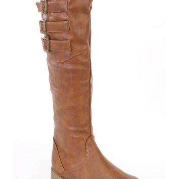 Tan Buckled Strappy Riding Boots Faux Leather