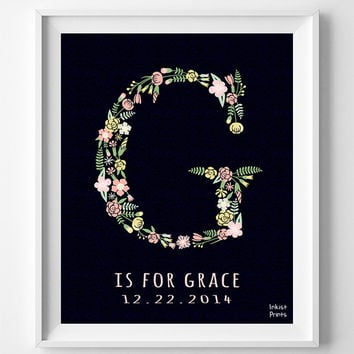 Grace, Customize, Baby Name, Print, Gabriel, Letter G, Monogram, Nursery, Poster, Alphabet, Initial, Baby Shower, Gift, Wall Decor [NO 707]