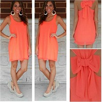 Summer dress women bow dress 2016
