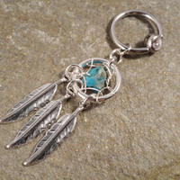 Turquoise Dream Catcher Captive Belly Button Jewelry, Gemstone Belly Button Ring