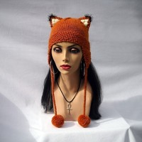 Fox Hat Knit Fox Ears Beanie with Ear Flaps - Girls and Adult Fox Ears Hat in Burnt Orange