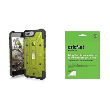 CREYRQ5 UAG iPhone 8 Plus / iPhone 7 Plus / iPhone 6s Plus [5.5-inch screen] Plasma Feather-Light Rugged [CITRON] Military Drop Tested iPhone Case and Cricket Wireless BYOD Prepaid SIM Card