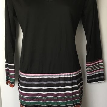 V-Neck Long Sleeve Colorful Striped Dress