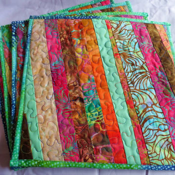 Quilted Table Placemats - Dinning Table Placemats - Table Placemats - Batik Table Placemats - Dinner Placemats - Patchwork Placemats