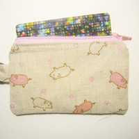 Piggy pig id1330849 | card wallet | zipper coin purse |Japan Fabric