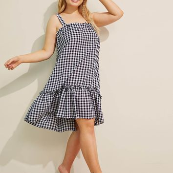 Plus Gingham Flounce Night Dress
