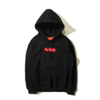 Autumn and winter skateboarding tide brand Supreme embroidery simple hooded sweater men and women Black-Red Label