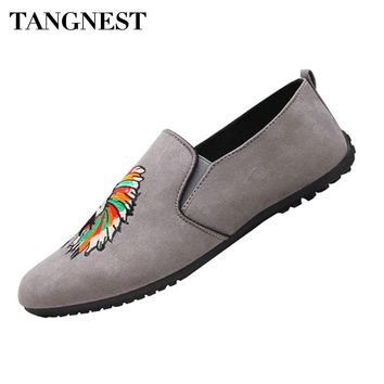 Tangnest Pattern Printed Men's Soft Loafer Casual Shoes