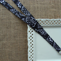 Fabric Lanyard  - Black Bandana