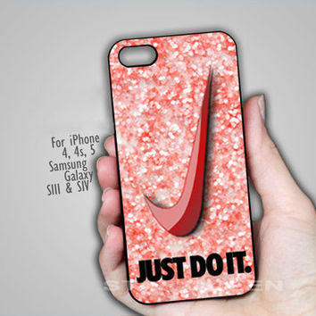 NIke Just Do it Pastel Pink  - on Hard Cover For  iPhone 4/4S, iPhone 5 Case And Samsung Galaxy s3 i9300, Samsung Galaxy s4 i9500 Case