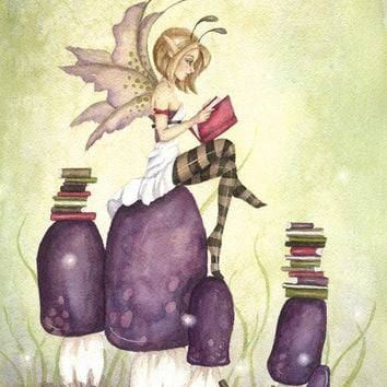 Fantasy Fine Art Print - 8.5x11 - The Knowledgeable Pixie - whimsical, fairy tale, story book, illustration, purple