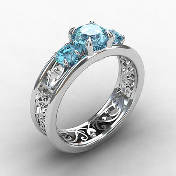 Aquamarine ring, filigree, diamond ring, engagement, lace, blue, aquamarine engagement, wedding ring, anniversary, bridal, custom
