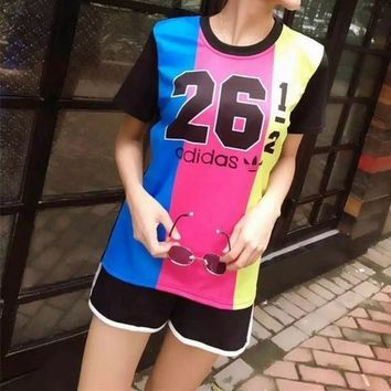 adidas women sport casual multicolor letter numeral print short sleeve shorts set two piece sportswear