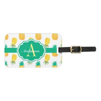 Tropical Pineapple Patterned Monogrammed Luggage Tag