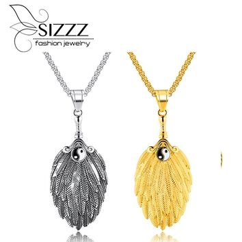 SIZZZ Europe and the United States retro feathers men's pendant titanium steel tai chi gossip fan hole fan pendant
