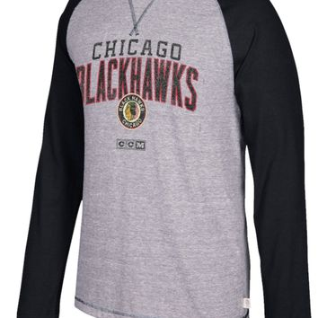 Men's Chicago Blackhawks Gray/Black CCM Long Sleeve Crew T-Shirt