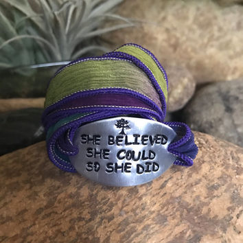 She believed she could so she did, silk wrap bracelet, yoga, yoga jewelry, motivation jewelry, graduation gifts, Mother's Day
