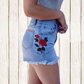 Stassie Embroidered Rose Shorts +COLORS