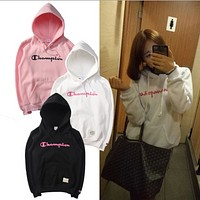 Champion Simple printed cotton sweater men and women models