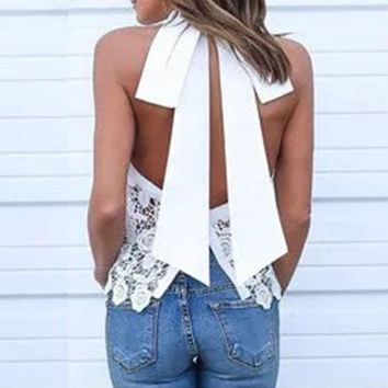 DCCKJG2 2016 Summer Sexy Women Blusas Lace Floral Crochet Blouses Tops Casual Turtleneck Retro Sleeveless Backless Bow White Shirts Top