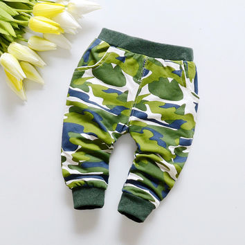 new Hot selling spring military jungle camouflage pattern cotton baby pants 0-2 year baby boy pants Sports pants