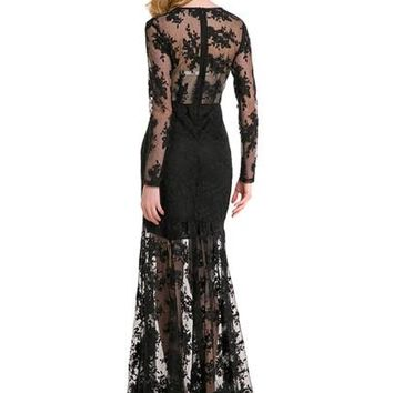Long Sleeve Lace Patchwork Women's Maxi Dress