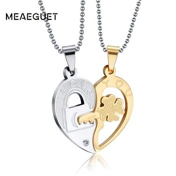 Meaeguet Romantic Heart Crystal Couple Necklace Pendant For Women Men Key To Love Stainless Steel Necklace Jewelry Gift