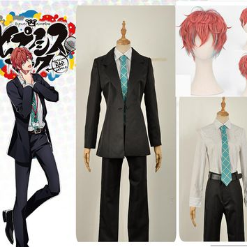 Games Voice Actor Doppo Kannonzaka Cosplay Costume Custom Black Jacket Uniform Suits Green Tie Shirt Long Pants Coral Curly Wig