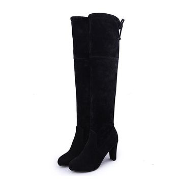Mcckle Thigh High Women's Winter Boots Faux Suede Leather High Heels Over The Knee Boots Women Plus Size Shoes Woman 34-43 - Beauty Ticks