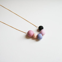 Purple dusty pink necklace a Modern necklace with an Elegant color combo contrast colors