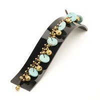 81stgeneration Women's Brass Gold Tone Simulated Turquoise Round Bead Ankle Anklet Bracelet, 24 cm