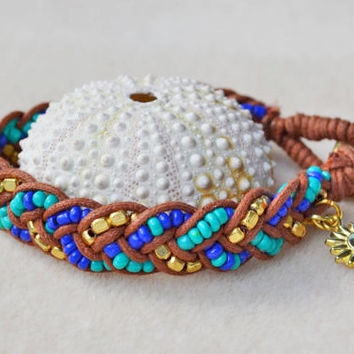 Summer bracelet, sunflower charm, woven bracelet, beach jewelry, beaded wrap bracelet, boho chic jewelry, braided bracelet, sun charm, cute