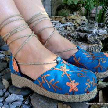 Teal Embroidered Floral Espadrille Ankle Wrap Shoes
