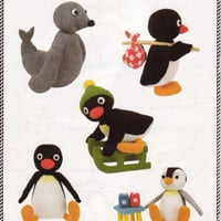 pingu knitting pattern PDF download, intarsia, pingu (with knapsack), pingu on sledge, pingu sitting, pinga, robby, 5 patterns