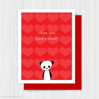 Panda Valentine Card Cute Romantic Valentines Day Bear Pun For Girlfriend Boyfriend Wife Husband Love You Beary Much Handmade Greeting Cards