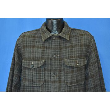 50s Woolrich Green Brown Plaid Wool Button Shirt Extra Large