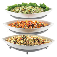 16.5W x 18.5D x 10.5H Three Tier Melamine Canoe Bowl Display Platinum